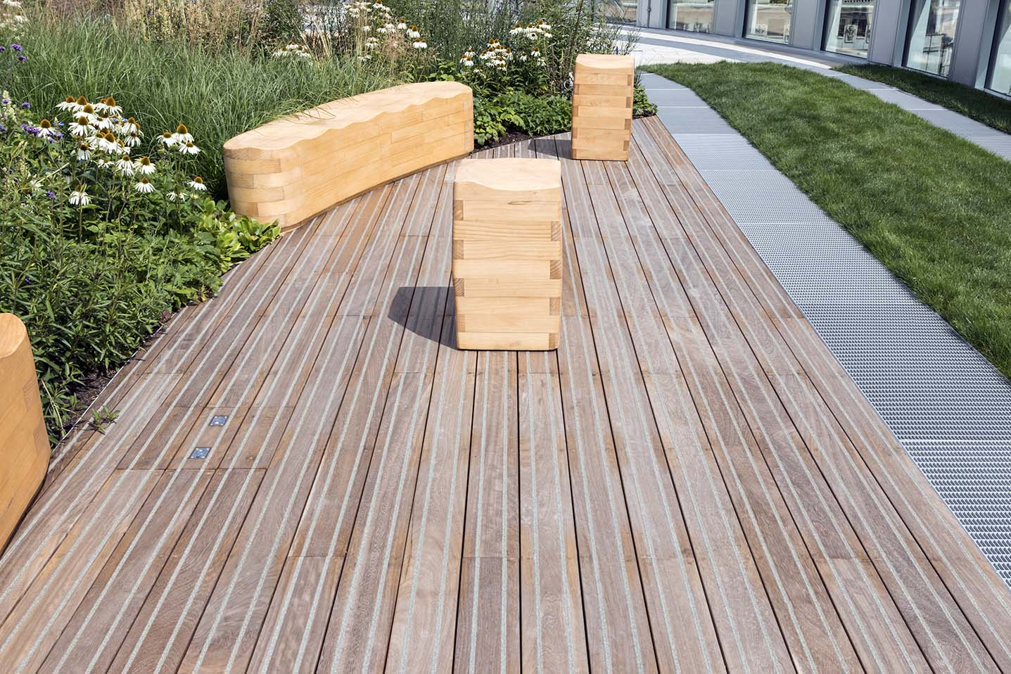 Pedestal system supports timber decking at stunning office space