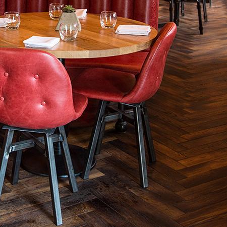 Reclaimed-look herringbone for Birmingham restaurant