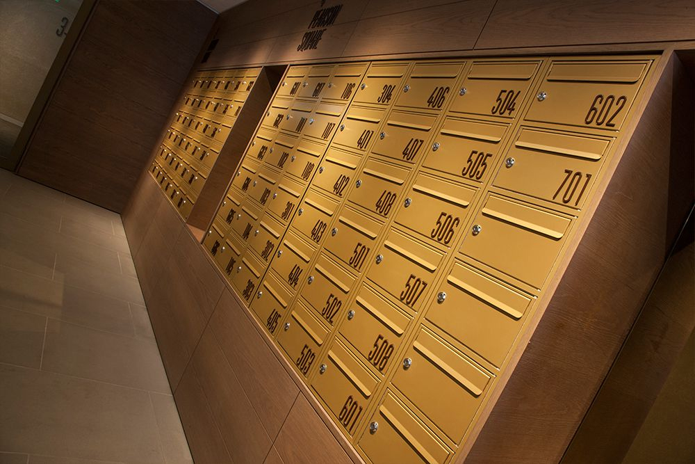 Custom crafted mailboxes for prestigious Fitzroy Place