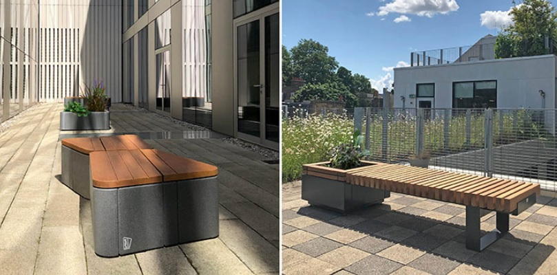 Seating and planters ensure relaxed atmosphere for students