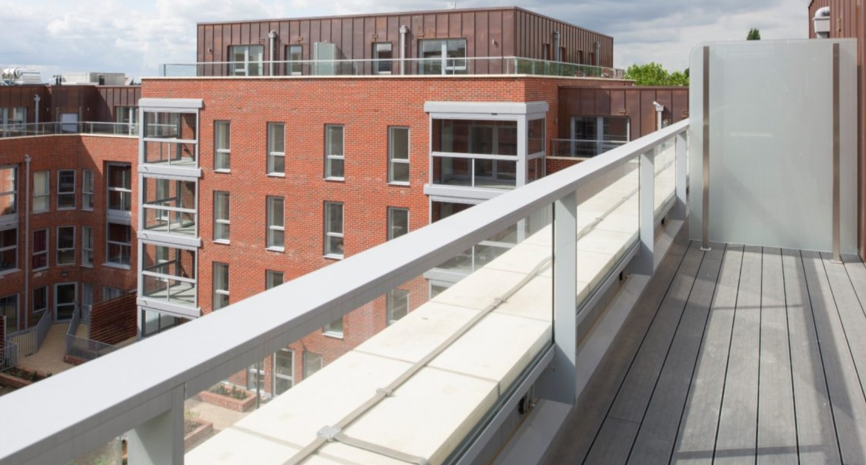 Frame infill balustrades & hand rails for Geron Way apartments
