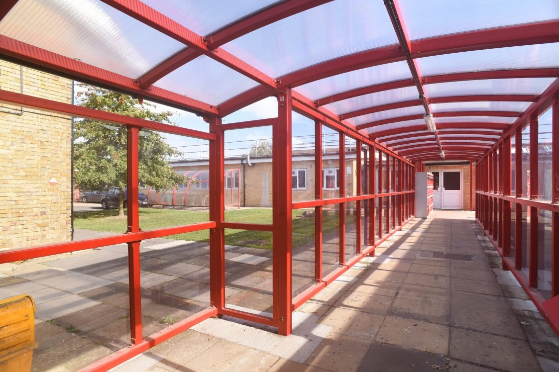 Signal Red shelter creates walkway for students in Harrow