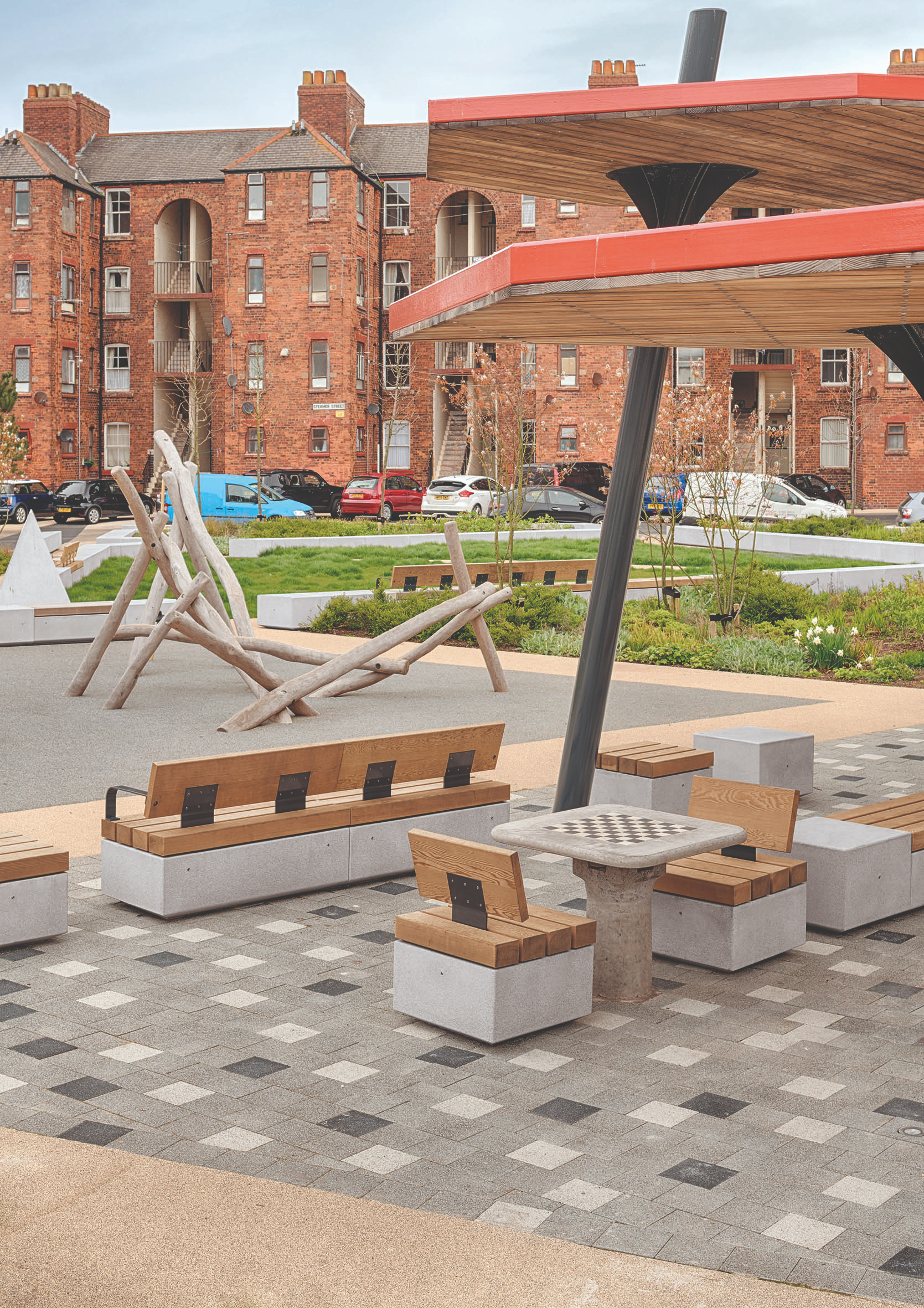 Seating elements encourage local families to socialise