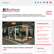 Ecobuild themed newsletter, featuring exciting innovations at the exhibition. Visit Ecobuild 7-9 March 2017 at ExCel London.