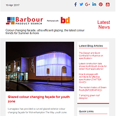 Colour changing facade, ultra efficient glazing, the latest colour trends for Summer & more