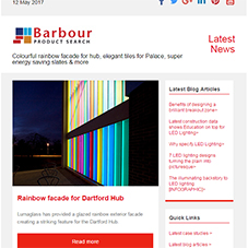 Colourful rainbow facade for hub, elegant tiles for Palace, super energy saving slates & more