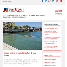 Door furniture a sure bet for luxury Las Vegas hotel | Glass balustrades offer clear sea views