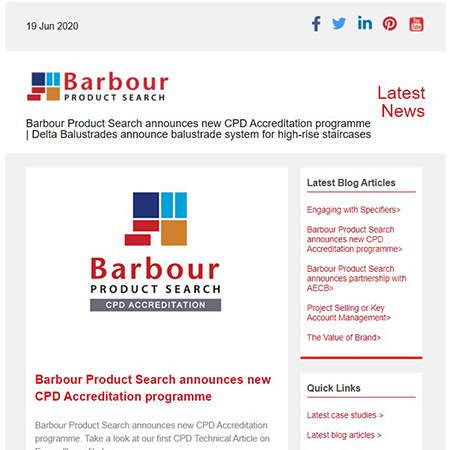Barbour Product Search announces new CPD Accreditation programme | Delta Balustrades announce balustrade system for high-rise staircases
