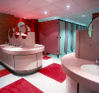 Francis Holland School, London. Millennium cubicles with vanity tops in Corian.