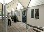 Plymouth College of Art and Design's attractive pergola covered terraced concourse alongside the new 'Central Building'
