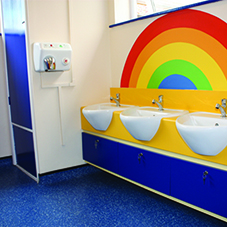 A bright, modern and safe washroom solution