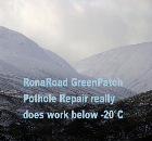 RonaRoad EcoPatch Pothole Repair working in the Highlands at -23°C