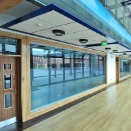 A variety of systems from Armstrong Ceilings feature on a redeveloped school