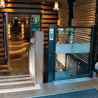 Lowriser vertical platform lift installed at the Chimichanga Bar & Restaurant in Bournemouth