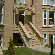 Cast stone balustrade and steps