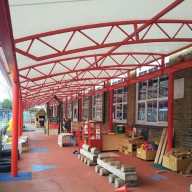Godolphin Infants School outside Oxford covered play canopy