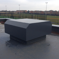 Shirebrook Academy Intelivent Roof Cowls and Penthouse Turrets, Ventilation Grilles, Wireless Smart Buildings Controllers, Low Leakage Motorized Volume control Dampers.