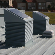 Auchinleck New Community and Day Care Centre Solarstore, Solarpipe and standard penthouse turrets all within the Intelivent product range