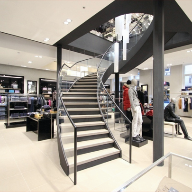 Helical staircase for flagship Hugo Boss store