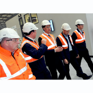 The Rt Hon MP and Labour Leader Ed Miliband discuss energy efficiency with Pilkington