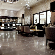 Porcelain Grey floor tiles for Bijou Bar refurbishment, London Heathrow