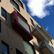 Glazed privacy screening systems for Bermondsey Spa apartments