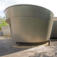 Curved rainscreen aluminium cladding used on sports centre