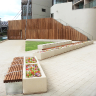 Street furniture for residential courtyard