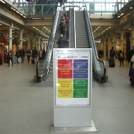 Free standing display cases for St Pancras
