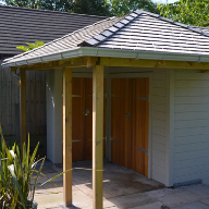 Air shelter transformed into Western Red Cedar shed