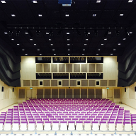 Architectural mesh ceiling panels for theatre ceiling