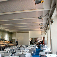 Architectural mesh ceiling at The River Café, London