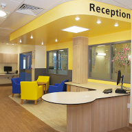 Wood effect sheet vinyl flooring at Warrington Hospital