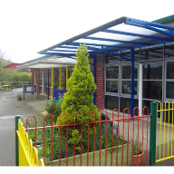Bespoke flat pitched canopy for Rawlin Primary School