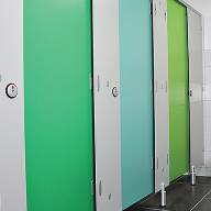 Colourful cubicles at Holme Valley Caravan Park