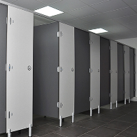 Shower and toilet cubicles at Glan Morfa Mawr Caravan Park