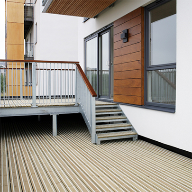 Smooth anti-slip decking for riverside housing development