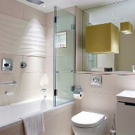 Frameless Glass bath & shower screens for Three Quays Development