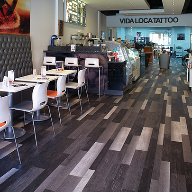 Polyflor luxury vinyl tiles for Vida Loca Tattoo studio