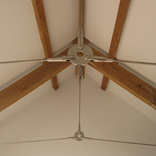 Stainless Steel Rod System supports charming oak frame