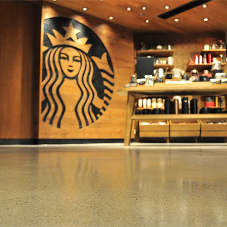 Vibrant Flowcrete resin terrazzo floor at Starbucks