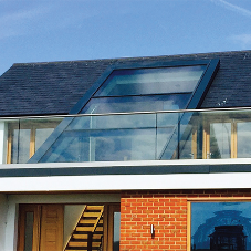 Glass monopitch rooflight for private home in Worthing