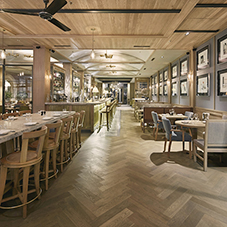 Paraquet flooring at bustling London restaurant