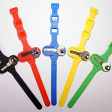 Locker key wrist straps for swimming pools