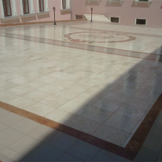 Liquid waterproofing protects grand marble floors