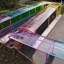 Broxap rainbow walkway at Allens Croft Primary