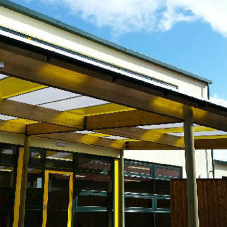 Two monopitch canopies for Roecroft Lower School