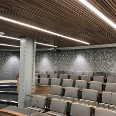 Bespoke design acoustic panels for lecture theatre