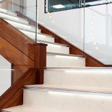 Schlüter illuminated profiles for feature staircase