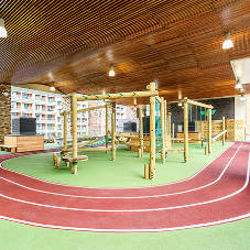Striking ceiling for school's play area